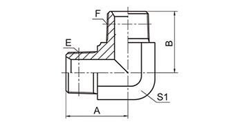 1T9-SP BSPT Male Hose Adapter, 90° Elbow